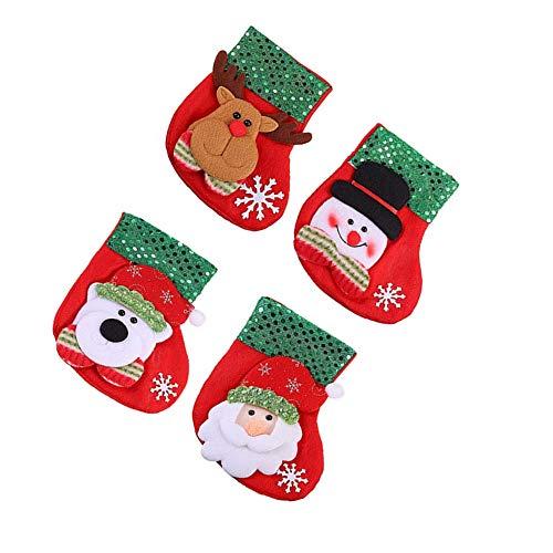 ZARRS Calze di Natale,4 Pezzi Calze della Befana Calze Natale Calze di Babbo Natale Piccolo Natale Calze Regalo per Decorazione per Natale