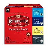 Community Coffee Variety Pack Medium to Dark Roast Single Serve K-Cup Coffee Pods, Box of 54 Pods