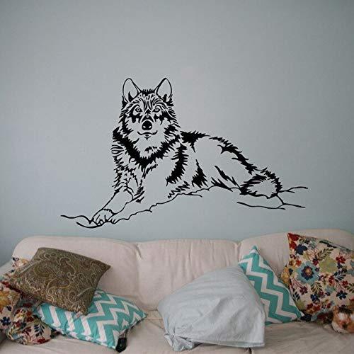 Schöne Wolf Wandaufkleber Wildtier Vinyl Aufkleber wilde Natur Home Innendekoration Kunst Wandbild Wohnzimmer Schlafzimmer Dekoration Aufkleber A1 S 57x35cm
