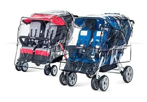 Foundations Quad 4-Seat Stroller Rain Cover Weather Shield, Clear