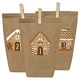 Calendrier de l'Avent DIY - maisons en pain d'épice à coller - Avec 24 sacs en papier à remplir - Noël 2018 Remplissez-le vous-même avec des bonbons, des petites figurines, des bons d'achat, des blocs de construction, etc. Créez votre propre Calendri...
