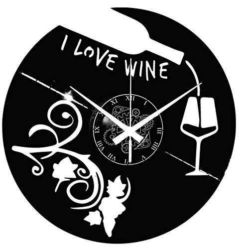 Instant Karma Clocks Enoteca - Reloj de Pared con Disco de Vinilo para Cerveza, Restaurante, pizzería I Love Wine Vino UVA y Cantina, cáliz, Negro