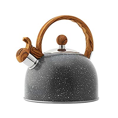 Beilaibo Tea Kettle, Water Pot with Loud Whistle and Heat Resistant Wood Pattern Handle, Food Grade Stainless Steel Teapot, Large Capacity for Home Suitable for All Heat Sources