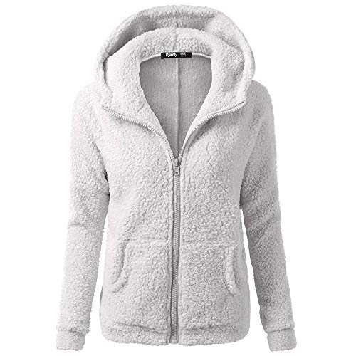CNBOY Chaqueta Mujeres de Invierno de Lana Cálida Cremallera Abrigo con Capucha Casual Suéter Abrigo de Algodón Outwear Hoodie (Light Gris, M)