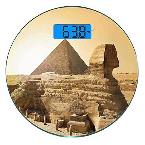 Digitale Präzisionswaage für das Körpergewicht Runde Altes Dekor Ultra dünne ausgeglichenes Glas-Badezimmerwaage-genaue Gewichts-Maße,Berühmte Wahrzeichen-Wunder der ägyptischen Pyramiden der Welterbe
