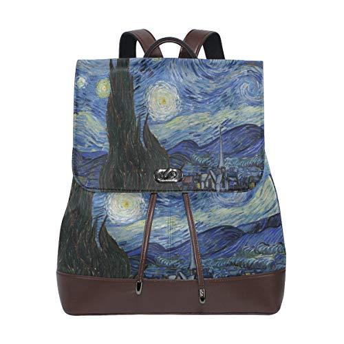 Ahomy - Zaino da donna in pelle PU, con motivo a luna, notte stellata, antifurto, per Van Gogh