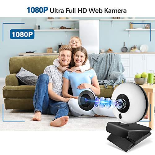 1080P Webcam mit Mikrofon, Full HD Facecam Live-Streaming Webcams mit Ringlicht, Stativ, 360° Schwenkradius, USB Kamera für PC, Videochat-Aufnahme, Mac, Laptop, Zoom, Skype (Weiß/Warmes Licht)