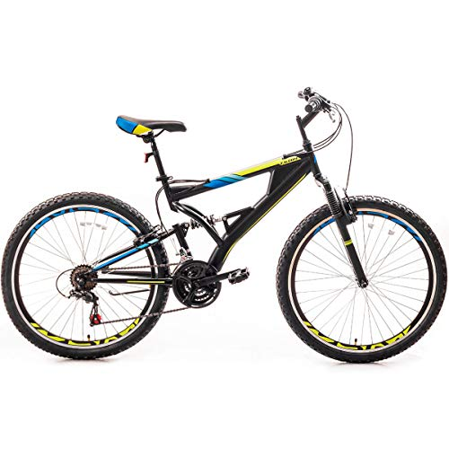 26 Inch Mountain Bike with Full Suspension 21-Speed Aluminum Frame Bicycle for a Path, Trail & Mountains,Men/Women, Black(Up to 330lbs MAX)