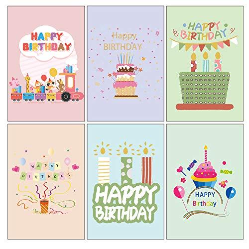 Vintoney 48er Geburtstagskarten Set, Umweltfreundliche Glückwunschkarte Grußkarte mit 50 Umschlägen & 6 Muster(je 8 Stücke) für Kindergeburtstag Kinder Erwachsene, Erweiterungsgröße: 195 * 150mm