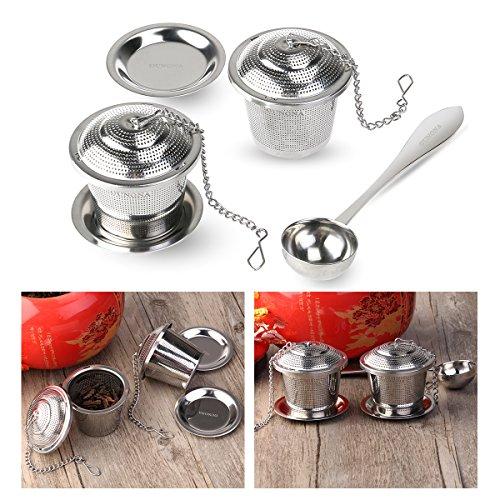 OUNONA Tee-ei Sieb Tee Rostfreier Stahl (2 Stück) mit Tee-Scoop und Auffangwannen