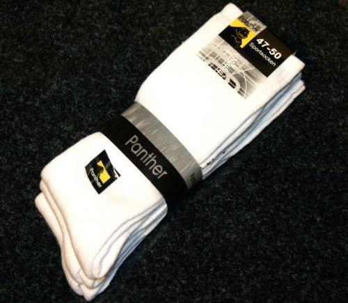 PaNTHER-chaussettes de sport-homme-blanc-lot de 3–chaussures matelas grande taille - Blanc - Blanc, 47-50 EU