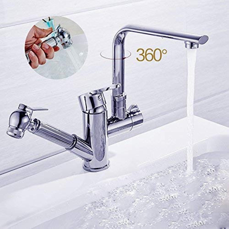 ZHAS Waschbecken Leitungswasser Mischbatterie All-Kupfer hei und kalt antiken Pull-Typ-Wasserhahn, B-hell Silber Standardmodelle