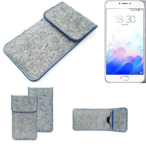 K-S-Trade Handy Schutz Hülle Kompatibel Mit Meizu M3 Note Schutzhülle Handyhülle Filztasche Pouch Tasche Hülle Sleeve Filzhülle Hellgrau, Blauer Rand