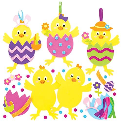 Baker Ross Osterküken Mix & Match Deko Anhänger Bastelset für Kinder (8 Stück) Kreativsets zum Basteln und Dekorieren zu Ostern