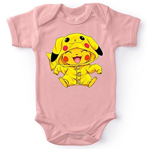 Okiwoki Body bébé Manches Courtes Filles Rose Parodie Pokémon - Pikachu - Le Cosplayer Ultime !!(Body bébé de qualité supérieure de Taille 3 Mois - imprimé en France)