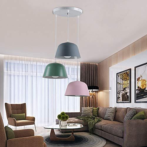 Boaber - Lámpara de techo con diseño de macaron, tres cabezas de hierro forjado para restaurante, restaurante, dormitorio, estudio o salón