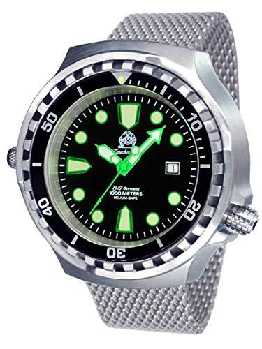 Tauchmeister T0328MIL XXL - Reloj de buceo automático (100 atm, correa milanesa de 52 mm)