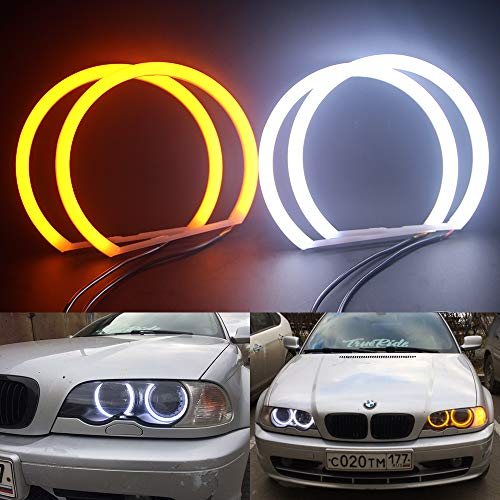 Csslyzl Switchback Dual Color White/Amber 131MM Halo Rings Cotton Light SMD LED Angel Eyes Compatible with BMW E36 E38 E39 E46 M3 3,5,7 Series