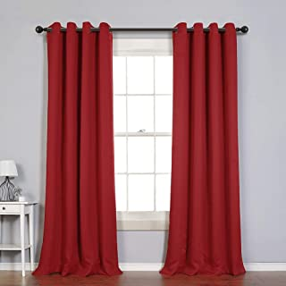 MYSKY HOME Solid Grommet top Thermal Insulated Window Blackout Curtains for Dining Room, 52 x 95 Inch, Red, 1 Panel