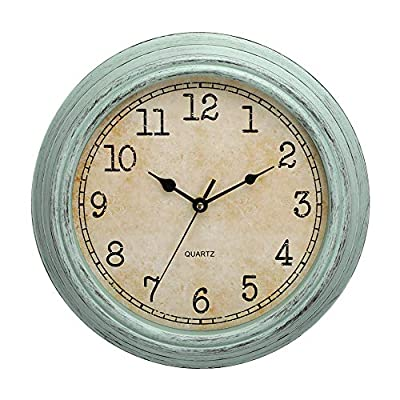 LONBUYS 12 Inch Vintage Retro Wall Clock, Silent Non-Ticking Quartz Decorative Wall Clocks with Large Numbers Easy to Read for Kitchen,Living Room,Bathroom,Bedroom,Office,School(Aqua)
