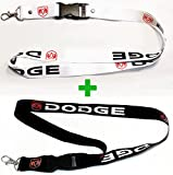 Dodge Lanyard 2X White & Black with Red Logo 1 inch x 22 inch Key Chain ID Badge Card Holder Hanger