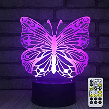 INSONJOHY Kids Night Lights Bedside Lamp 7 Colors Change Remote Control 3D Night Light Kids Optical Illusion Lamps Kids Lamp As a Gift Ideas Girls Wife Women Butterfly
