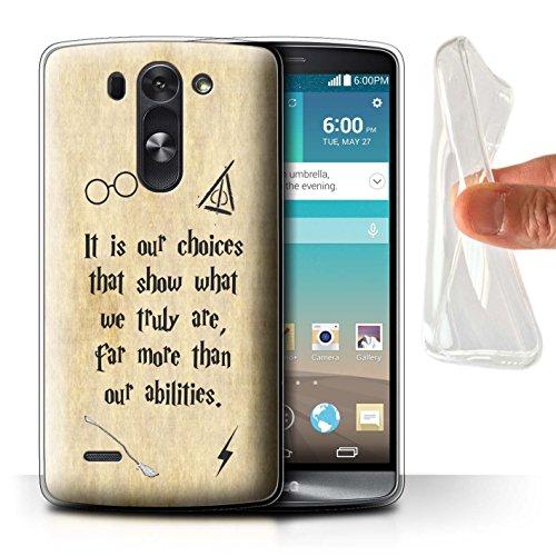 Hülle Für LG G3 Mini S/D722 Schule der Magie Film Zitate Choices und Abilities Design Transparent Dünn Weich Silikon Gel/TPU Schutz Handyhülle Hülle