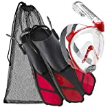 Cressi Italian Collection Full Face Snorkel Mask with Latest Dry Top Snorkel System, with Self-Adjustable Fin Perfect Snorkel Set for Traveling