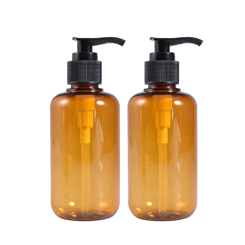 邪魔する危険にさらされているギャラリーFrcolor ポンプ瓶 ポンプボトル 200ml 遮光瓶 ドロップポンプ 泡立て 詰め替え シャンプーハンドソープ 茶色 PET製 2本セット