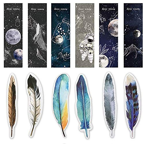 Bookmarks for Women Men, 30pcs Space Roaming Bookmarks and 30pcs Feather Bookmarks Message Card Office School Supplies