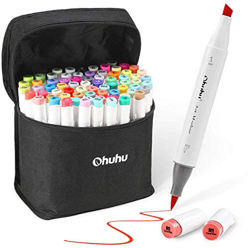 マーカーペン 筆タイプ 72色 Ohuhu 筆先 ふでタ...
