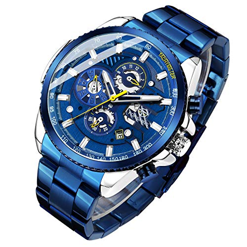 Gute Mens Luxury Automatic Mechanical Skeleton Wrist Watches Stainless Steel with Week Function self-Winding Watch
