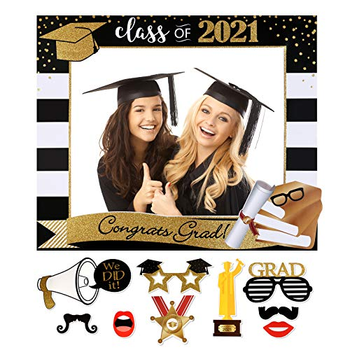 Class of 2021 Large Size Graduation Photo Booth Props Kit Graduation Selfie Photo Frame, Black and Gold Glitter, for College and High School Graduation Party Supplies Decorations, 9 PC