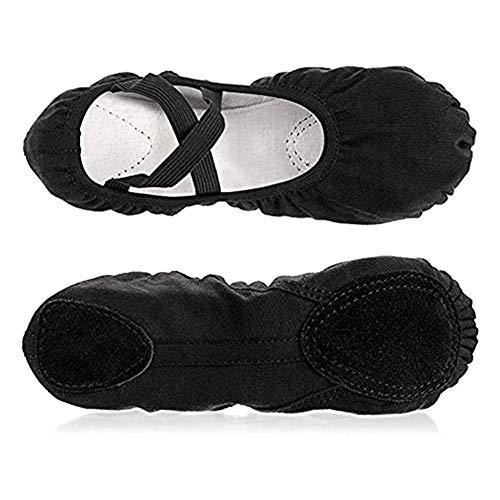 hellomagic Ballettschuhe Elastische Ballettschläppchen Gymnastikschuhe Yoga-Schuhe für Mädchen und Erwachsene in den Größen 34-38(37 Black)