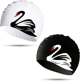 Hutigertech Swim Cap for Women Long Hair Curly Hair Solid Silicone Waterproof Bathing Swan Swimming Caps