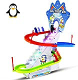 Haktoys Arctic Fun Penguin Chasing Playset | Playful Roller Coaster, Race Track Set with LED Flashing Lights | Music On/Off Button for Quiet Play, Safe and Durable, Gift for Toddlers & Kids