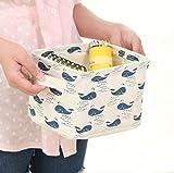 Ciaoed Kleine Baby Leinen Speicher Organizer Sets (Beige, Grau, Pink, Blau) Stoff Aufbewahrungsbox Organizer mit 2 Griffen auf beiden Seiten 20.5x17x15cm -Sets von 4 - 8
