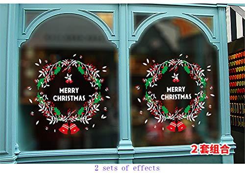 Domila Decorazioni Natalizie Forniture per scenografie Adesivo per vetri per vetrine Decorazioni Natalizie Adesivo per Porta di Fiori per Albero di Natale per finestre Che può Essere riutilizzato