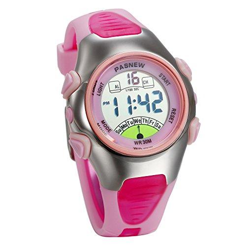 JewelryWe 多機能 子供 スポーツウオッチ デジタル腕時計 カジュアル ファション 可愛い 学生ウオッチ アラーム 3ATM防水 三色選択可-[ピンク]