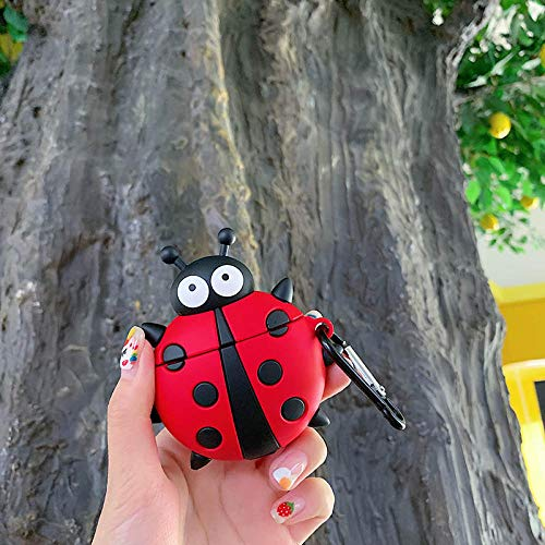 Linda Caricatura Insecto Ladybug 3D Funda para AirPods 1 2 Caja de Carga Suave Silicona inalámbrica Bluetooth Auricular Funda Protectora Coque-para AirPods 1 2