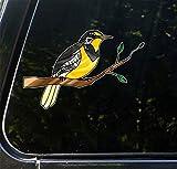 Bird - Western Meadowlark on Branch - Stained Glass Style Opaque Vinyl Car Decal - Yadda-Yadda Design Co. (Med 6.25