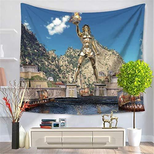 Tapisserie Dekoration für Schlafzimmer Picknick Decke Wandteppich heilige Feuerskulptur des blauen Himmels Wohnzimmer Strand Tuch Yoga Mat Couch Bezug Wand Decor Tapestry Wandbehang GT2694-150x200cm