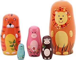 OBAST Nesting Doll 5 pc Animal Family Russian Matryoshka Toy Wooden Cartoon Doll Craft Gift Accommodate Jewelry Sweet Decoration