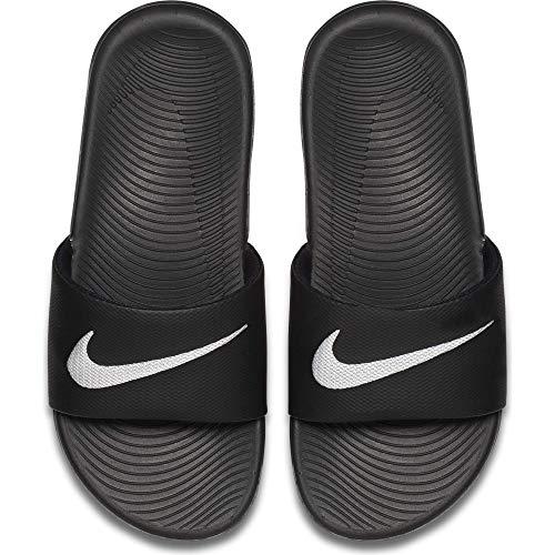 NIKE Kids' Kawa Slide Sandal, Black/White, 6 M US Big Kid