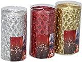 Edco 8.71125E+11 - Velas de Navidad, color rojo, dorado y plateado (1 unidad)