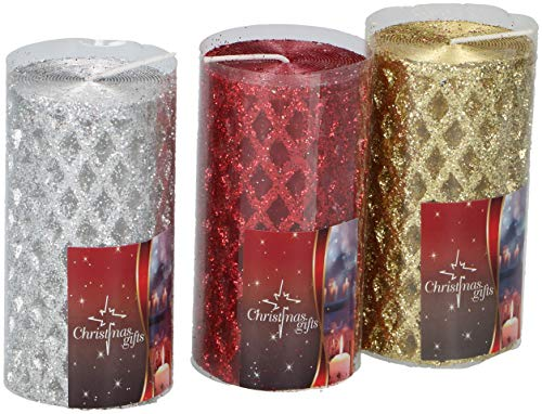 Edco 871125201056 - Velas de Navidad, Color Rojo, Dorado y Plateado