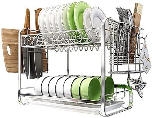 Sobre el plato fregadero secado estante de la cocina, plato de acero inoxidable bastidor de drenaje del estante de la mesa de vajilla de la cocina de la cocina del estante de la cocina de la cocina de