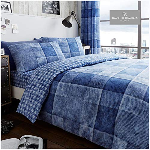 Gaveno Cavailia Luxury DENIM CHECK Bed Set with Duvet Cover and Pillow Case, Polyester-Cotton, Blue, Double