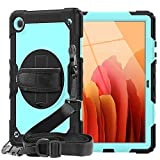 Samsung Galaxy Tab A7 10.4 Case 2020 | SIBEITU Galaxy Tab A7 Case with Screen Protector | Heavy Duty Shockproof Rugged Case with Stand Hand & Shoulder Strap for SM-T500/T505/T507 10.4 Inch SkyBlue