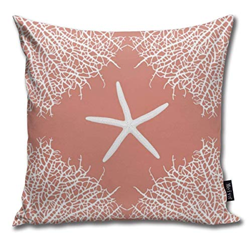 XCNGG Federa Throw Pillow Covers Seastar And Coral Throw Pillow Cases Decorative Cushion Covers Pillowcases Square Pillow Covers 18x18inch